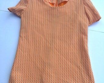 Vintage 60s orange/cream women's top. Size XS/S