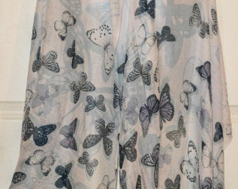 Grey Butterfly Scarf 50% cotton 50 viscose