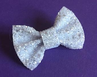 White glitter dog bow