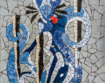 Cat, mosaic art with tiles, pop art