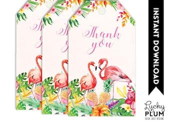 Tropical Favor Tags / Tropical Thank You Tags / Tropical Gift Tags / Flamingo Luau Pineapple Hawaiian / Digital Printable TP02