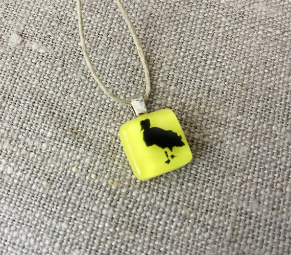 Snowy Egret Pendant Glass Jewelry Necklace of Fused Glass by Happy Owl - florida bird black on yellow cute kids jewelry