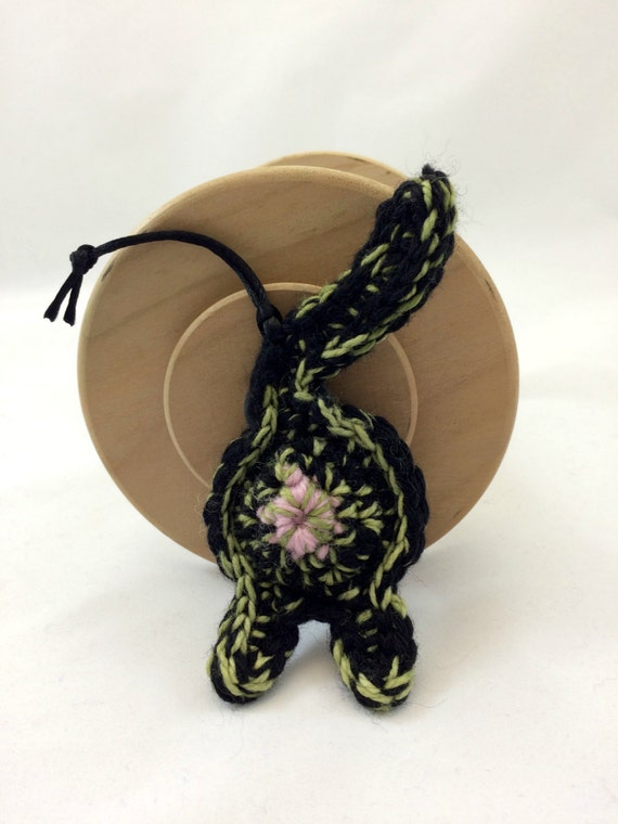 Cat Butt Holiday Ornament, Home Decoration, Kitty Accessories, Gift For Cat People - Greens and Black