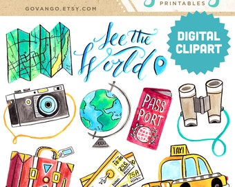 TRAVEL Digital Clipart Instant Download Illustration Watercolor Journey Adventure Vacation Camera Wanderlust Passport Airplane Globe World