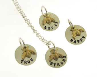 Bee Necklace, bee charms to make you smile, sterling silver and brass honey bee jewelry, hand stamped charm necklace