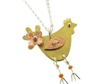 Chicken Necklace, mixed metal pendant with copper, sterling silver, and brass, chicken jewelry, chicken charm, hens and rooster