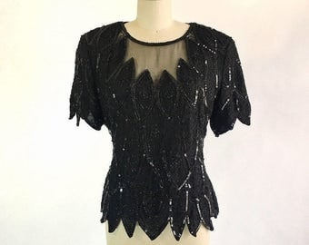 Vintage Black Silk Sequin Beaded Blouse by Sténay