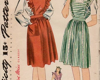 Simplicity 4921 Misses 40s Jumper, Pinafore, Blouse Vintage Sewing Pattern Size 14 Bust 32 Unprinted