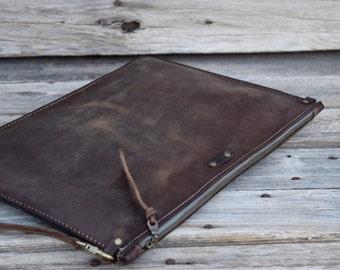 Leather Portfolio / Unisex / Mens Zipper Bag / Brown Leather / Large Zipper Clutch / Hand Stitched Bag / Feral Empire /feralempire.etsy.com