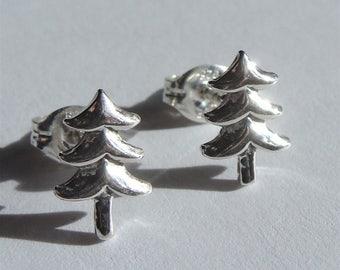 Sterling Christmas Tree Studs Sterling Silver Earrings Small Flat Silver Earrings