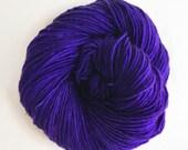 grape / hand dyed yarn / fingering sock dk bulky yarn / super wash merino wool yarn / single or ply/ choose your base / deep purple yarn