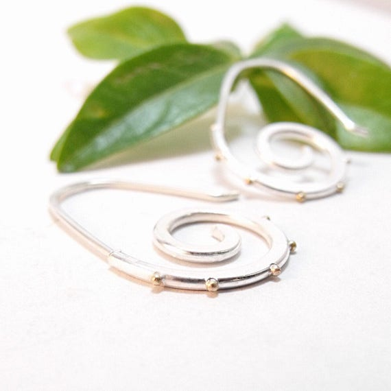Earrings - Silver Spiral with 14k Gold Granules
