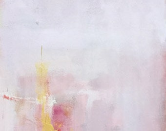 red and pink abstract painting 12x36  abstract modern art contemporary design original art glam style red and gold