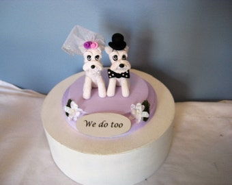 FREE ship, ltd time - Schnauzer dogs Wedding Cake Topper, white, whimsical, handmade, clay, pawsnclaws, OOAK,