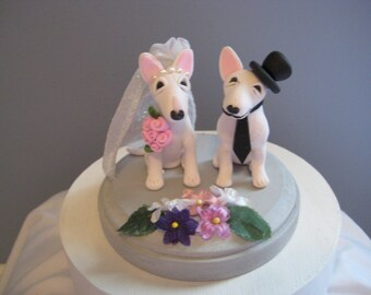 Bull Terrier dogs Wedding Cake Topper, handmade, clay, whimsical, OOAK, personalized, top hat, flowers, pawsnclaws
