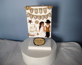 Outdoor, country Wedding Cake Topper, clay, bride and groom, boots, double sided, just hitched, handmade, burlap, personalized
