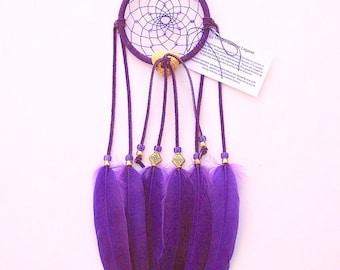 Purple Dream Catcher, Goose Shoulder Feathers