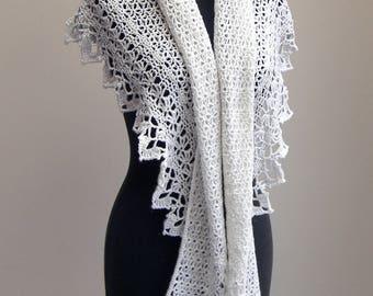 Custom Made Crochet Lace Shawl Scarf Wrap Cowl, Wedding Bridal, Merino Wool Nylon, Stylish Comfort Prayer Meditation, FREE SHIPPING