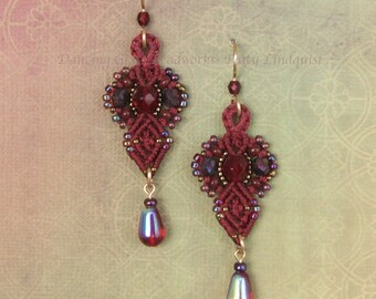 Scarlet Red Macrame Earrings, Red Beaded Earrings, Beadwork, Seed Bead Earrings, Dark Red earrings, micro macrame, classic style