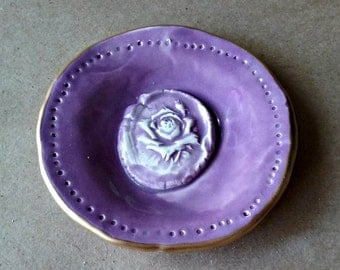 Ceramic Purple Ring Dish with Rose edged in gold