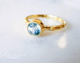 6mm blue topaz gold ring. light blue gold vermeil ring. blue gem ring. gemstone ring. gold vermeil