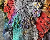 Hand Dyed Vintage Crochet Scarf or Shawl in Light Grey with Multicolor Accents