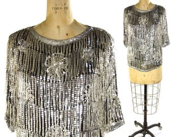 80s Beaded Fringe Flapper Blouse / Vintage 1980s Sequin Silk Glam Rock Shirt / Black & Silver Cocktail Party Special Occasion Dressy Top / S