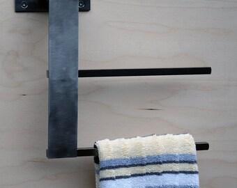 Towel Bar / Rack for Kitchen or Bath Double sided, Minimal, Modern, Stainless Steel / Blackened Mild Steel ,Sleek Style