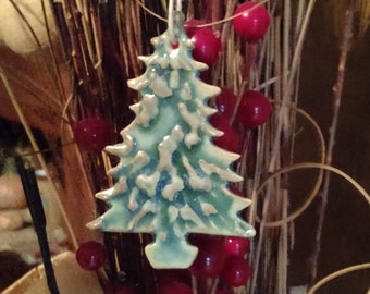 Last One! 1 rustic ceramic clay Christmas tree ornament primitive style green