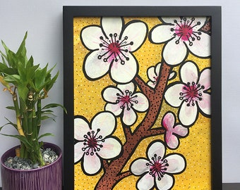 Cherry Blossom Painting - Original Mixed Media Floral Painting - Flower Wall Art Decor for Bedroom by Claudine Intner