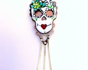 Enameled Sugar Skull necklace with copper background