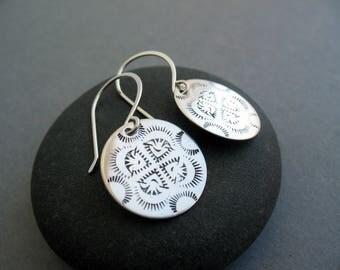 Boho Earrings, Silver Coin Earrings, Everyday Earrings, Southwest Inspired, Stamped Earrings, Round Earrings, Dangle Earrings, Lightweight