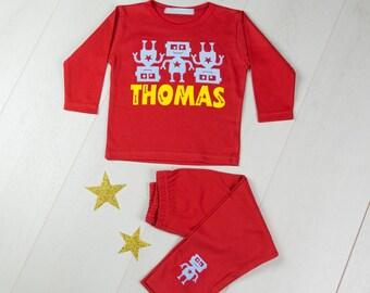 Personalised Robot Pyjama Set|boys pyjamas|girls pyjamas|personalised pyjamas|kids pajamas|baby pajamas|robot gift|robot pjs|birthday gift