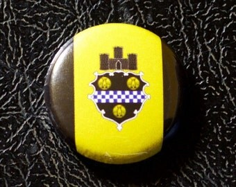 "1"" Pittsburgh PA flag button - Pennsylvania, city, pin, badge, pinback"