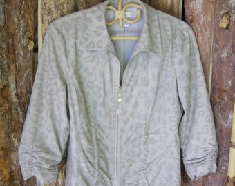 Vintage 80s 90s Chicos Metallic Leopard Print Jacket Size 0