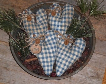 Set of 4 Primitive Rustic LOVE Country Heart Shaped Blue White Plaid HEARTS Bowl Fillers Ornies Ornaments Mini Pillows Tucks