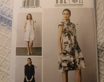 Vogue Sewing Pattern V8876, Marce Tilton, Designer Sewing Pattern, Size 16- 24, Bust 38-46 Misses Ruffle Collar Dress, Uncut Factory Folds