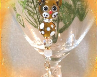 Amber Lampwork Kitty Suncatcher with 20mm Austrian Crystal Ball, Fancy Collar and Handmade Hanger, Unique Gifts, Cat Lover Gifts