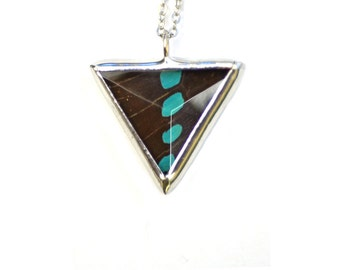 Real Butterfly Wing Necklace. Graphium Sarpedon Small Faceted Triangle. Real Butterfly Jewelry. Geometric Butterfly Necklace.