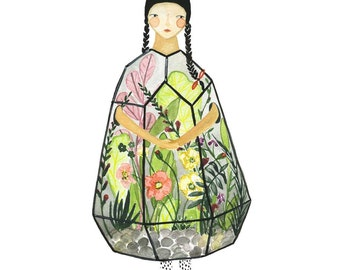 Floral Art, Floral Watercolor,Terrarium, Garden art, Flowers Illustration,Gardening Gift, Art, Children's Wall Art, Nusery Decor