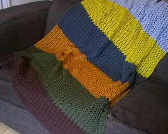 Crochet Pattern for Colour Block V Stitch Blanket PDF