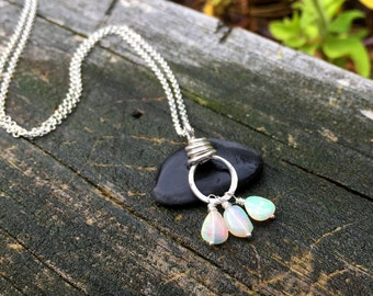 Genuine Opal Gemstone Pendant, Sterling Silver Necklace, October Birhstone, Welo Opal Gem Nugget, Handmade Jewelry, 16 18 20 22 24 inch long
