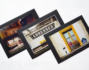 Amélie Photo Cards, Set of 3, PARIS Photography, MONTMARTRE,French Greeting Cards, Cute Window,ABBESSES Metro Station, Au Marche de la Butte