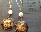 Globe World and Mother of Pearl Earrings in Antiqued Brass