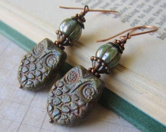 You're A Hoot - Rustic Olive Green Owl Earrings