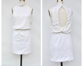 90s sequins party bodycon dress / backless dress / small