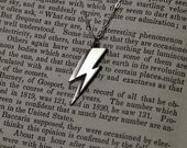 Ziggy Stardust Aladdin Sane Lightning Bolt Sterling Silver Necklace David Bowie
