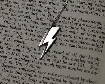 Ziggy Stardust Aladdin Sane Lightning Bolt Sterling Silver Necklace David Bowie