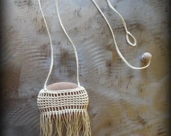 Artist Necklace, Crocheted Lace, River Stone, Handmade, Ecru Thread, Nature, Unique, Bohemian, Original, Fringe, Monicaj