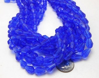 34 Blue Glass Beads 10x7mm faceted teardrop tear drop (H2263)